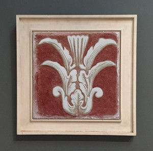 Red Sgraffito Fresco by iLia Fresco on ceramic tile 16X16, 2011